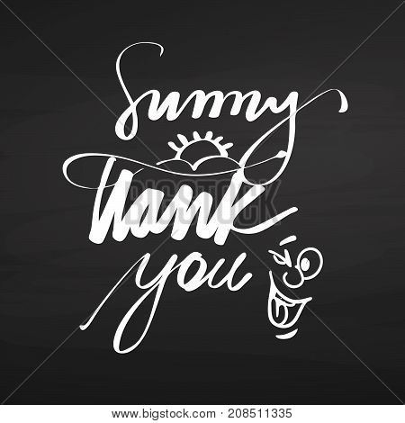 Sunny Thank You Lettering On Chalkboard