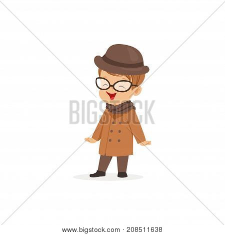 Cute little boy wearing brown coat and hat, young gentleman dressed up in classic retro style vector Illustration isolated on a white background