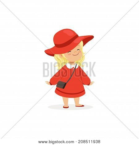 Elegant blonde little girl posing in red hat and dress, young lady dressed up in classic retro style vector Illustration isolated on a white background