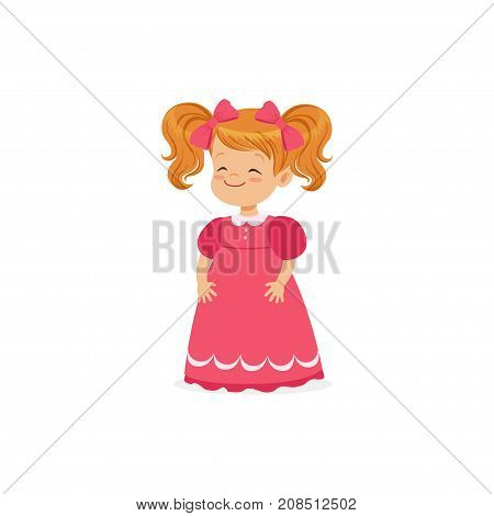 Beautiful redhead little girl posing in pink dress, young lady dressed up in classic retro style vector Illustration isolated on a white background