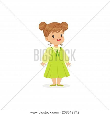 Beautiful little girl posing in green dress, young lady dressed up in classic retro style vector Illustration isolated on a white background