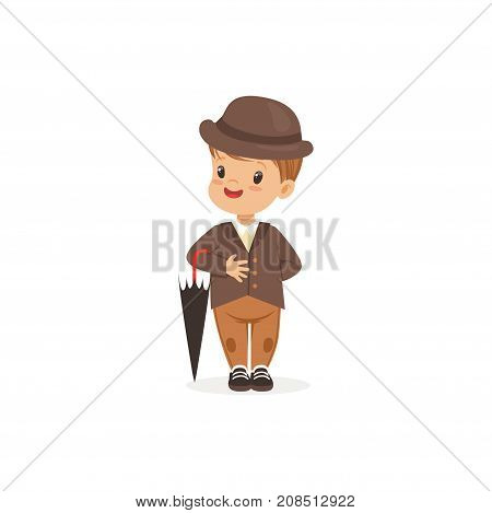 Cute little boy wearing brown suit and hat holding umbrella, young gentleman dressed up in classic retro style vector Illustration isolated on a white background