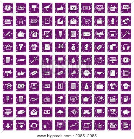 100 internet marketing icons set in grunge style purple color isolated on white background vector illustration