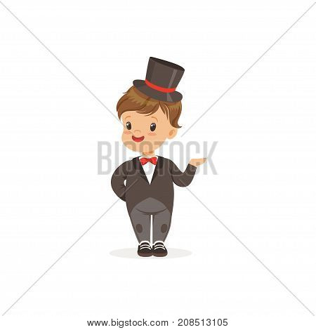 Elegant little boy wearing dinner jacket and black top hat, young gentleman dressed up in classic retro style vector Illustration isolated on a white background