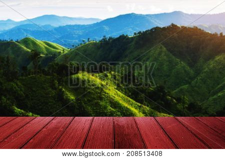 empty wooden table floor or terrace copy space for display of product or object presentation with beauty sunny day at mountain in background landscape nature and education back to school concept