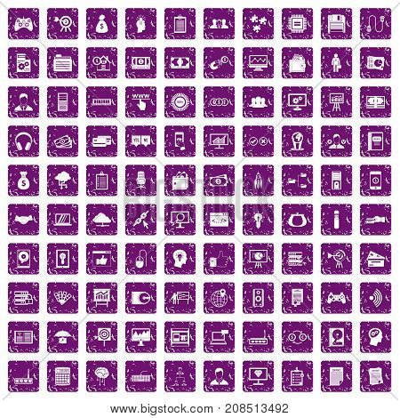 100 IT business icons set in grunge style purple color isolated on white background vector illustration