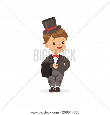 Cute little boy wearing grey dinner jacket and black top hat, young gentleman dressed up in classic retro style vector Illustration isolated on a white background