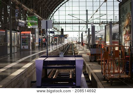 FRANKFURT, GERMANY - OCTOBER 03: The interior of the Frankfurt Central Station with goods traffic and passenger trains at the railway tracks on October 03, 2017 in Frankfurt.