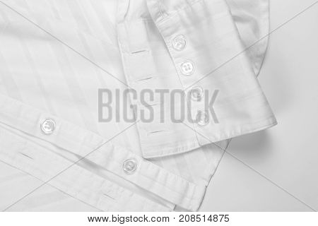 the sleeve white shirt with buttons closeup