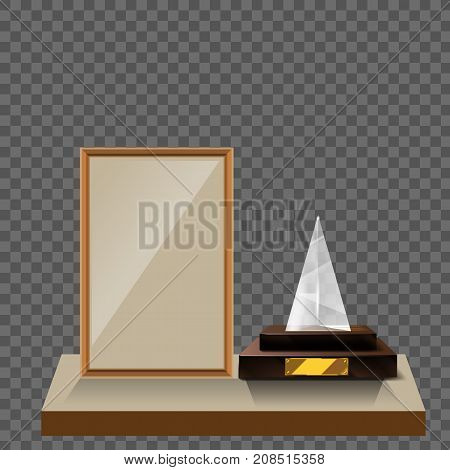 3d Vector glass triangle pyramid trophy with base and blank frame for copyspace front view isolated on white background. Vector illustration