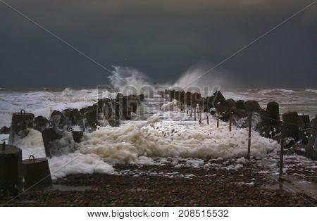 Waves Breaking Down At The Pier Of Norre Vorupor, Denmark