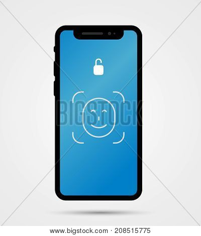 Vector Illustration Of New Mobile Phone Front Side With Face Id Technology.