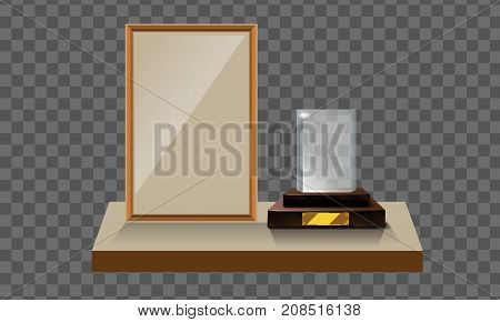3d Vector glass trophy with base and blank frame for copyspace front view. Vector illustration