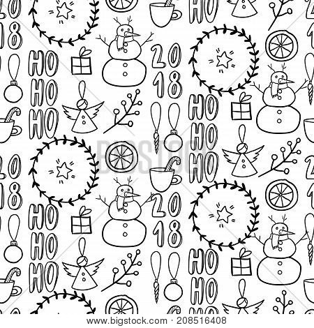 Vector seamless pattern. Simple black and white doodle. Snowman, garland, citrus, angel, present, twig. Xmas, New Year wrapping paper, greeting card party decoration flyer banner invitation