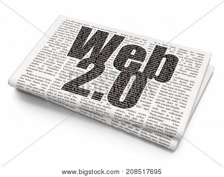 Web development concept: Pixelated black text Web 2.0 on Newspaper background, 3D rendering