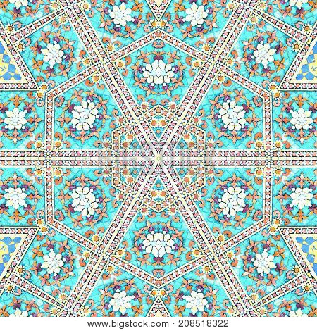 Surface Moroccan Ceramic Abstract Background Textures,kaleidoscope Photo Technique