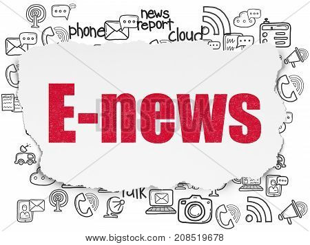 News concept: Painted red text E-news on Torn Paper background with  Hand Drawn News Icons
