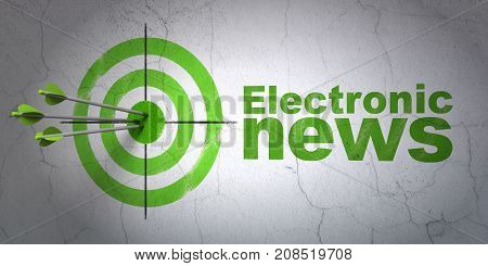 Success news concept: arrows hitting the center of target, Green Electronic News on wall background, 3D rendering