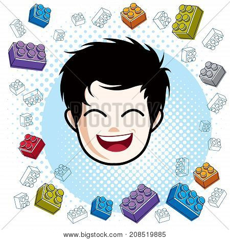 Cute boy face human head. Vector brunet character smiling toddler face features clipart.