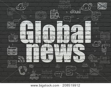 News concept: Painted white text Global News on Black Brick wall background with Scheme Of Hand Drawn News Icons