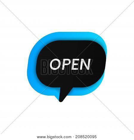 Clean Open vector bubble store banner illustration.