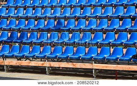 Bleachers of a mobil stadium in summer