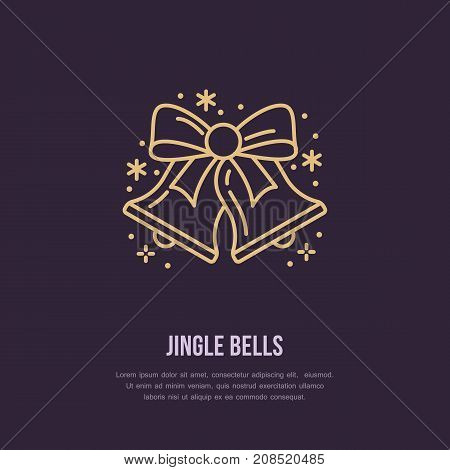 Christmas bell, new year flat line icons. Winter holidays vector illustration, signs for celebration party. Jingle bells.