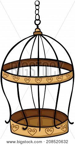 Scalable vectorial image representing a golden bird cage, isolated on white.
