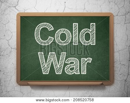 Political concept: text Cold War on Green chalkboard on grunge wall background, 3D rendering