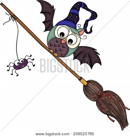 Scalable vectorial image representing a Halloween illustration with owl, isolated on white.