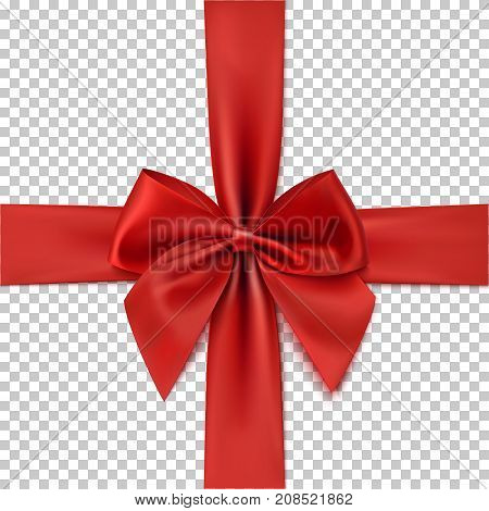 Realistic red bow and ribbon isolated on transparent background. Template for greeting card, brochure or poster. Vector illustration.