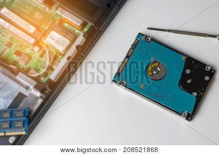 Cyber Data Attack Concept : Broken Laptop ,crash Motherboard ,memory Hard Disk Electronic Hardware