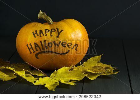 Halloween Pumpkin on a dark background. With the inscription of happy halloween. Dark background