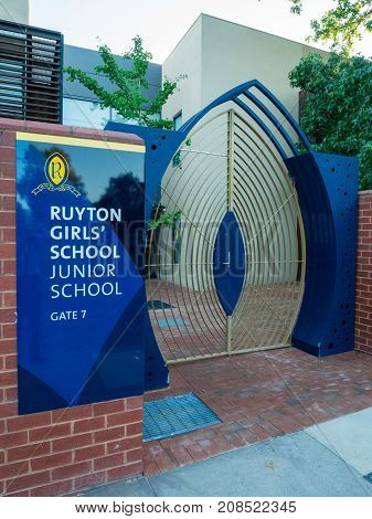 Melbourne, Australia - February 10, 2017: Ruyton is a private independent school for girls in the leafy eastern suburb of Kew.