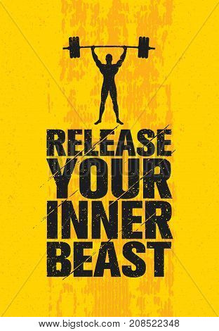 Release Your Inner Beast. Workout and Fitness Gym Design Element Concept. Creative Custom Vector Sign On Grunge Background