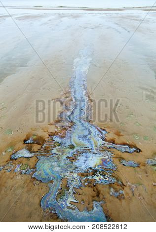 The colorful spill on a beach of Saulkrasti resort town in Gulf of Riga (Latvia).