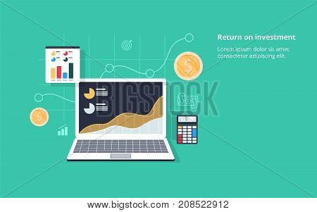 Return on investment ROI Business profit flat vector conceptual banner illustration with icons isolated on green background. Computer calculator with money e-commerce business.