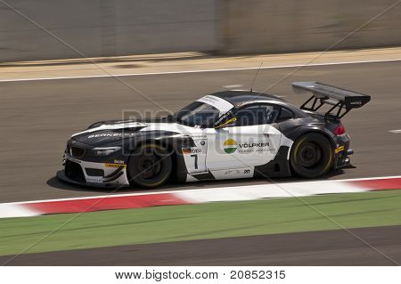 SILVERSTONE, ENGLAND - JUNE 4: Driver Casba Walter with Claudia Huertgen compete for Schubert Motorsport at GT3 Series Racing event at Silverstone RaceTrack on June 4th, 2011 in Silverstone, England.