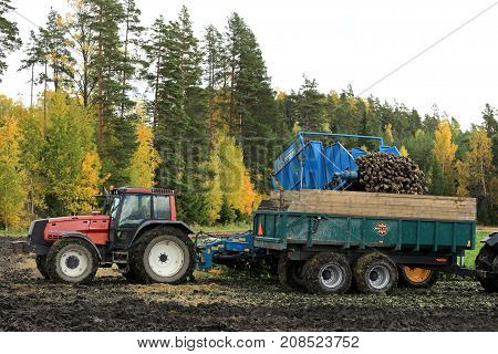 SALO FINLAND - OCTOBER 6 2017: Farmer unloads crop from Edenhall 733 sugar beet harvester onto tractor trailer during harvest on a clear day of October in South of Finland.
