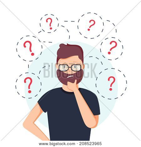 Young hipster business man thinking standing under question marks. Vector flat cartoon illustration character icon. Business man surrounded by question marks concept. Men think