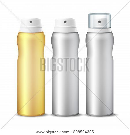 Spray Can Vector. Clean 3D Bottle Can Spray. Branding Design. Deodorant With Lid And Without. Isolated Illustration