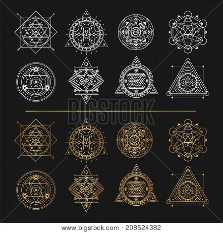 Set of gold and white sacred symbols on black background . Vector elements .