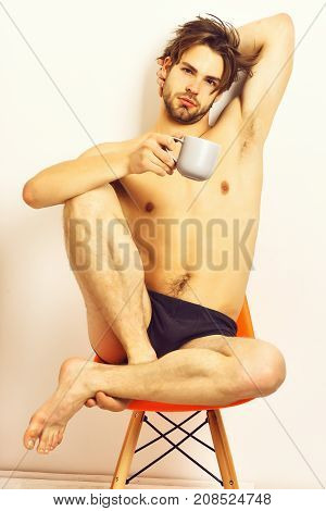 Caucasian Bearded Sexy Macho Holding Coffee Cup