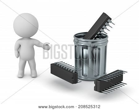 A 3D character showing several microchips thrown in a garbage can. Isolated on white background.