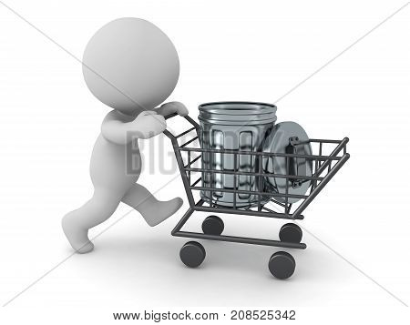 A 3D character pushing a shopping cart with a small metallic trash can. Isolated on white background.