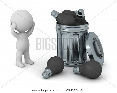 A 3D character with several black light bulbs thrown in a garbage can. Isolated on white background.