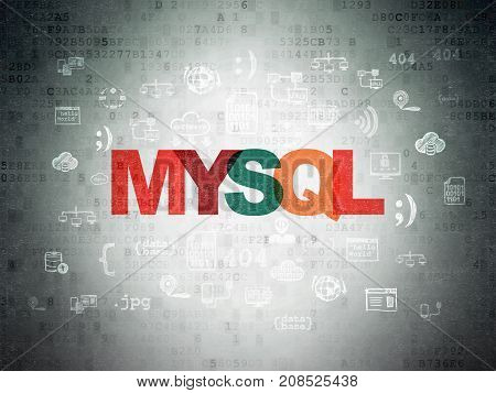 Software concept: Painted multicolor text MySQL on Digital Data Paper background with  Hand Drawn Programming Icons