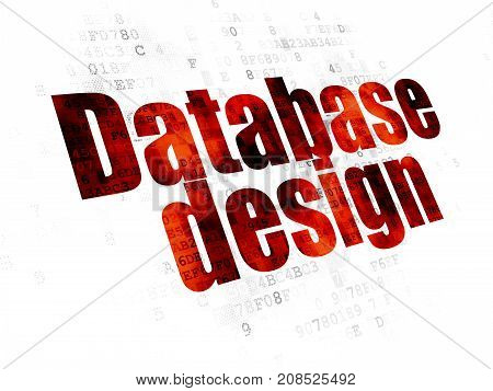 Programming concept: Pixelated red text Database Design on Digital background