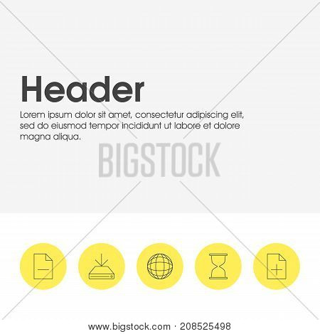 Editable Pack Of Removing File, Sandglass, World Elements.  Vector Illustration Of 5 Web Icons.