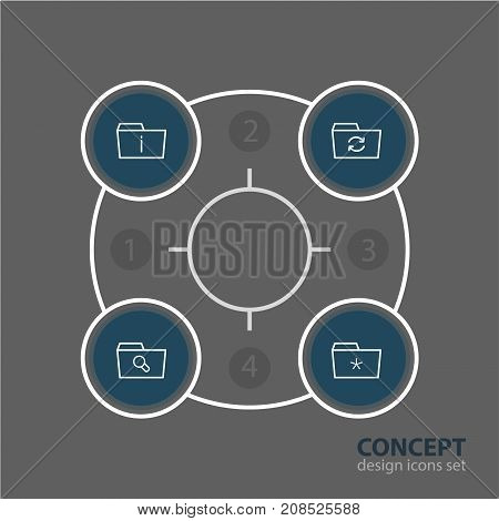 Editable Pack Of Significant, Magnifier, Recovery And Other Elements.  Vector Illustration Of 4 Dossier Icons.